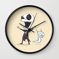invader zim Wall Clocks featuring Invader Jack!  by Ludwig Van Bacon