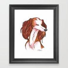 Brush Breeds-Saluki Framed Art Print