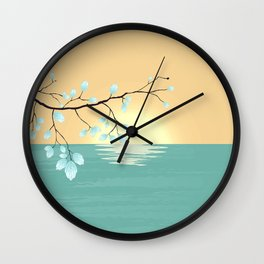 Delicate Asian Inspired Image of Pastel Sky and Lake with Silver Leaves on Branch Wall Clock