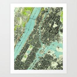 Vintage Central Park & Bronx NY Map (1947) Art Print