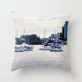 Boats in Boston Harbor Throw Pillow
