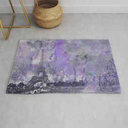 Purple Paris Watercolor Art Rug