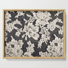 black and white lace- Photograph of vintage lace Serving Tray