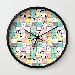 Crowd Of Hip Cats In Hats Wall Clock