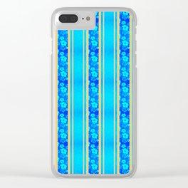 Blue Hibiscus Honu Stripes Clear iPhone Case