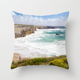 Pretty beach in Brittany (France) with cliffs Throw Pillow