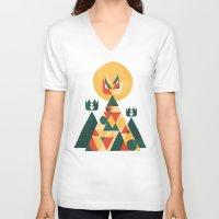 sunset V-neck T-shirts featuring Sunset Tipi by Picomodi