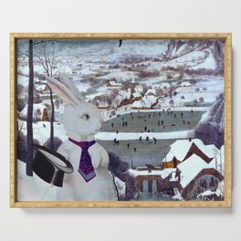 Rabbit in the Snow Composite - Pieter Bruegel the Elder Serving Tray