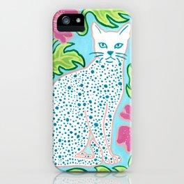 Cat on Blue iPhone Case