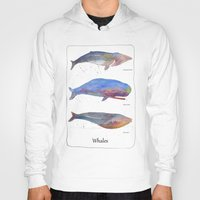 whales Hoodies featuring Whales by Lene Daugaard
