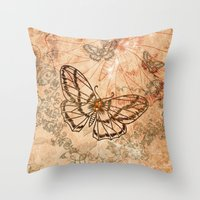 butterflies Throw Pillows featuring Butterflies by nicky2342