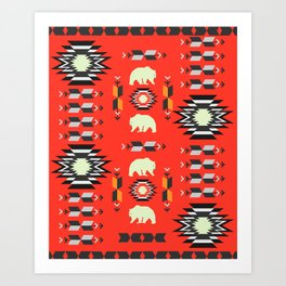 Tribal decor with bears in red Art Print