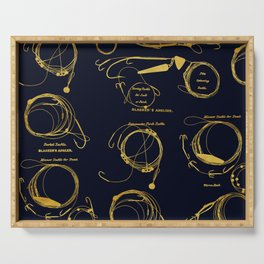Maritime pattern- Gold fishing gear on darkblue background Serving Tray