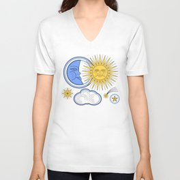 Vintage Sun and Moon Unisex V-Neck