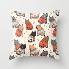 Sweater Cats - by Andrea Lauren Throw Pillow