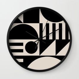 Mid Century Modern Geometric Abstract 936 Black and Linen White Wall Clock