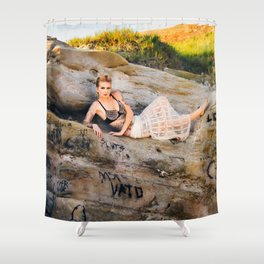 La Jolla Beach Model, with Expression Unlimited Photography Shower Curtain