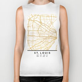 ST. LOUIS MISSOURI CITY STREET MAP ART Biker Tank