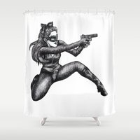 catwoman Shower Curtains featuring Catwoman  by Elizabeth A