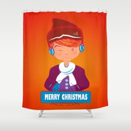 "Mikel AlfsToys say: ""Merry Christmas""  Shower Curtain"
