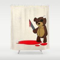 psycho Shower Curtains featuring Psycho Teddy by Nicklas Gustafsson