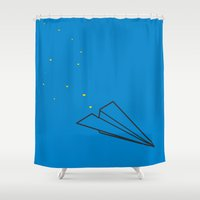 airplane Shower Curtains featuring paper airplane by Michelle Brugioni