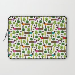 Dachshunds On A Walk In The Park Laptop Sleeve
