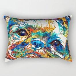 Colorful Shih Tzu Dog Art By Sharon Cummings Rectangular Pillow