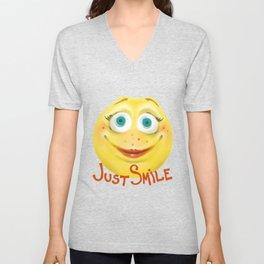 Just Smile :) Unisex V-Neck