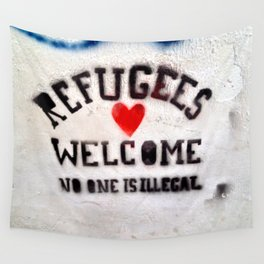 Refugees Welcome Wall Tapestry