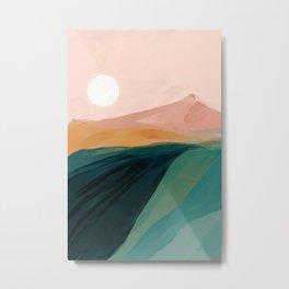 pink, green, gold moon watercolor mountains Metal Print