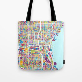 Milwaukee Wisconsin City Map Tote Bag