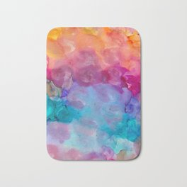 rainbow clouds alcohol inks Bath Mat