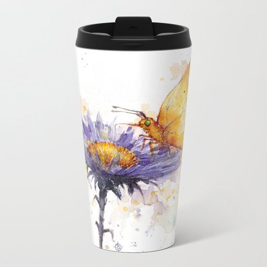 Flowers & Flutters Metal Travel Mug