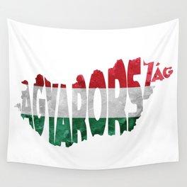 Magyarország World Map / Hungary Typography Flag Map Art Wall Tapestry