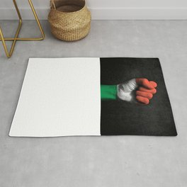 Hungarian Flag on a Raised Clenched Fist Rug