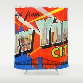 Vintage postcard shower curtains society6 greetings from new york city shower curtain m4hsunfo
