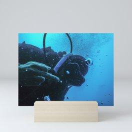 Scuba diver flipping off underwater, Middle finger Underwater Mini Art Print