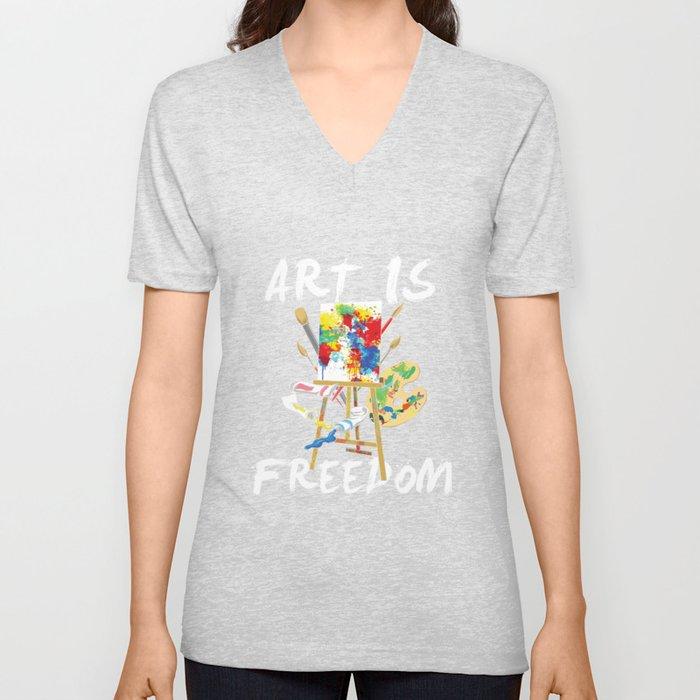 Art Is Freedom - Colorful Paint Tools Artist Painter Illustration Unisex V-Neck