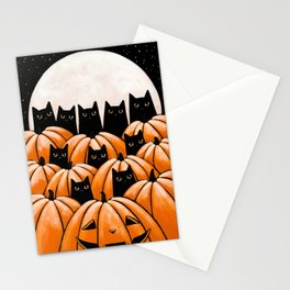 Black Cats in the Pumpkin Patch Stationery Cards