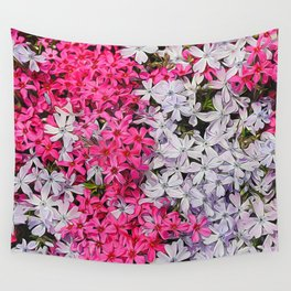 Pink and White Carpet Phlox Flowers Wall Tapestry