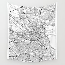 Dublin Map White Wall Tapestry