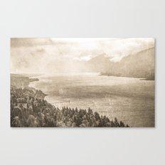 Sepia Vintage River Forest - Columbia River Gorge Canvas Print