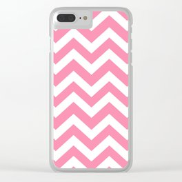 Tickle Me Pink - pink color - Zigzag Chevron Pattern Clear iPhone Case