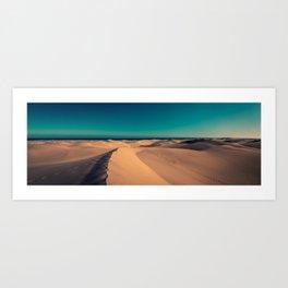 Sunset over the sand dunes Art Print