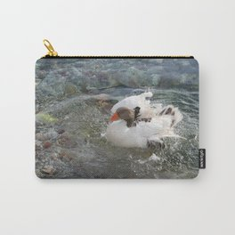Duck Splashing Water Creating Ripples on Riverbank Carry-All Pouch