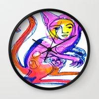 kangaroo Wall Clocks featuring Kangaroo by Dawn Patel Art