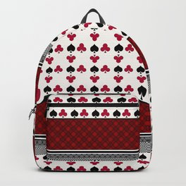 Colorful Patchwork Playing Cards Red and Black Poker Home Textile Backpack