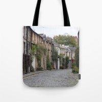 edinburgh Tote Bags featuring Edinburgh street by RMK Photography