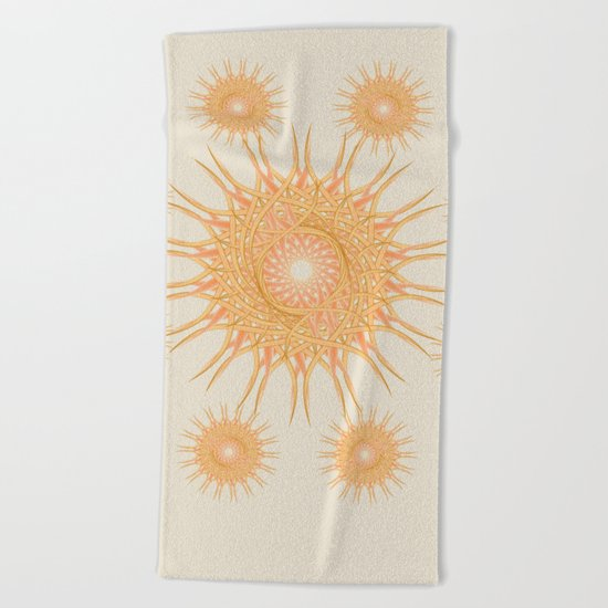 Mandala peach and orange Beach Towel